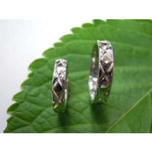 プラチナ結婚指輪(鍛造&彫金)光沢 平打ちリングに格子柄 格子模様|kouki|05