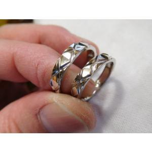 プラチナ 結婚指輪【本物の鍛造】光沢の平打ちリングに日本伝統模様の格子柄!格子模様が一周入ります kouki 07