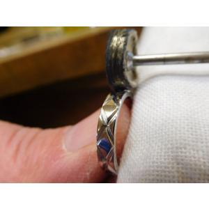 プラチナ 結婚指輪【本物の鍛造】光沢の平打ちリングに日本伝統模様の格子柄!格子模様が一周入ります kouki 08
