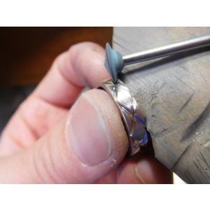 プラチナ 結婚指輪【本物の鍛造】光沢の平打ちリングに日本伝統模様の格子柄!格子模様が一周入ります kouki 09