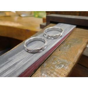 プラチナ 結婚指輪【本物の鍛造】光沢の平打ちリングに日本伝統模様の格子柄!格子模様が一周入ります kouki 10