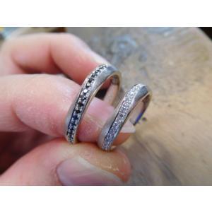 プラチナ結婚指輪(鍛造&彫金)光沢 フラットな平打ち 星&スターリング|kouki