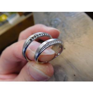 プラチナ結婚指輪(鍛造&彫金)光沢 フラットな平打ち 星&スターリング|kouki|02
