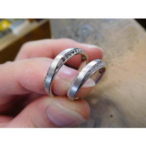 プラチナ結婚指輪(鍛造&彫金)光沢 フラットな平打ち 星&スターリング|kouki|03