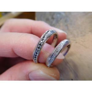プラチナ結婚指輪(鍛造&彫金)光沢 フラットな平打ち 星&スターリング|kouki|05