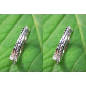 プラチナ結婚指輪(鍛造&彫金)光沢 2連交差リング ミル打ち|kouki|02