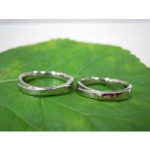 プラチナ結婚指輪(鍛造&彫金)光沢 2連交差リング ミル打ち|kouki|05