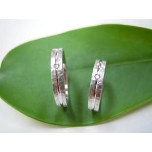 プラチナ結婚指輪(鍛造&彫金)光沢&マット 打ち出し&ライン ダイヤ入り|kouki|03