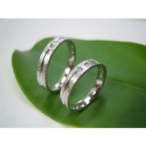 プラチナ結婚指輪(鍛造&彫金)光沢&マット 打ち出し&ライン ダイヤ入り|kouki|06