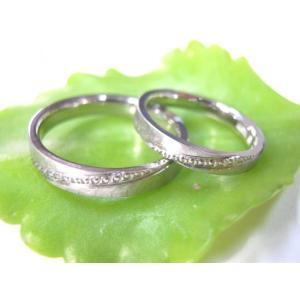 プラチナ結婚指輪(鍛造&彫金)艶消し&打ち出し 斜めにミル打ち|kouki