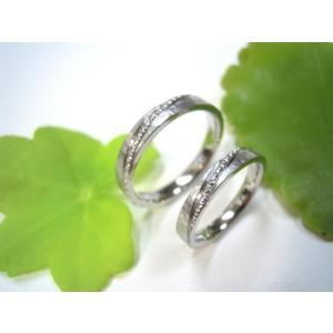 プラチナ結婚指輪(鍛造&彫金)艶消し&打ち出し 斜めにミル打ち|kouki|02