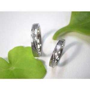 プラチナ結婚指輪(鍛造&彫金)艶消し&打ち出し 斜めにミル打ち|kouki|03