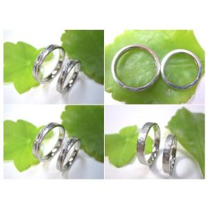 プラチナ結婚指輪(鍛造&彫金)艶消し&打ち出し 斜めにミル打ち|kouki|05