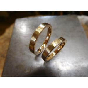 プラチナ結婚指輪(鍛造&彫金)光沢&マット 対角線ライン ウェーブカット|kouki