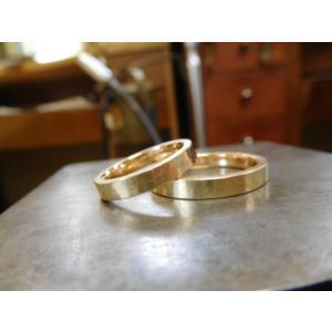 プラチナ結婚指輪(鍛造&彫金)光沢&マット 対角線ライン ウェーブカット|kouki|02