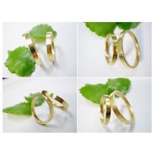 ゴールド 結婚指輪【本物の鍛造】浅めの槌目が繊細で美しい!シンプルな艶消し平打ちデザイン kouki 05