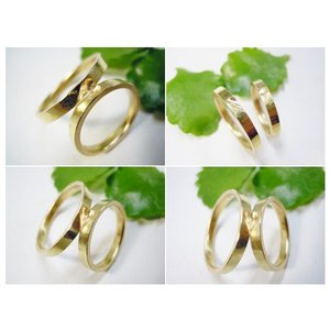 ゴールド結婚指輪(鍛造&彫金)艶消し 打ち出し&鎚目 平打ちにハート彫り|kouki|05