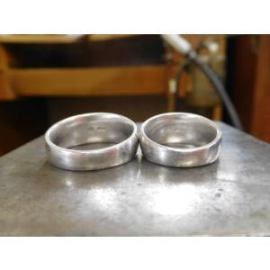 プラチナ結婚指輪(鍛造&彫金)荒仕上げ&荒削り 幅広の月形甲丸リング|kouki|11