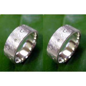 プラチナ結婚指輪(鍛造&彫金)マット 超幅広&超極太 打ち出し平打ち ダイヤ入り|kouki