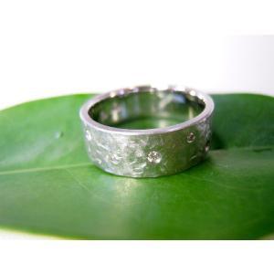 プラチナ結婚指輪(鍛造&彫金)マット 超幅広&超極太 打ち出し平打ち ダイヤ入り|kouki|02