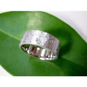 プラチナ結婚指輪(鍛造&彫金)マット 超幅広&超極太 打ち出し平打ち ダイヤ入り|kouki|03