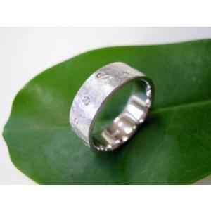 プラチナ結婚指輪(鍛造&彫金)マット 超幅広&超極太 打ち出し平打ち ダイヤ入り|kouki|04