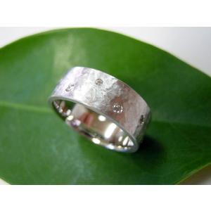 プラチナ結婚指輪(鍛造&彫金)マット 超幅広&超極太 打ち出し平打ち ダイヤ入り|kouki|05