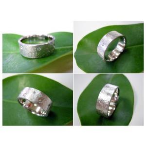 プラチナ結婚指輪(鍛造&彫金)マット 超幅広&超極太 打ち出し平打ち ダイヤ入り|kouki|06