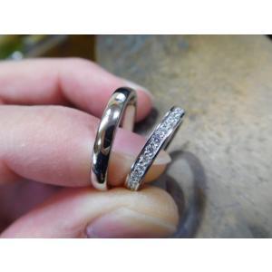 プラチナ結婚指輪(鍛造&彫金)光沢 星が繋がるスターリング|kouki