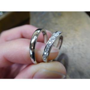 プラチナ結婚指輪(鍛造&彫金)光沢 星が繋がるスターリング|kouki|02