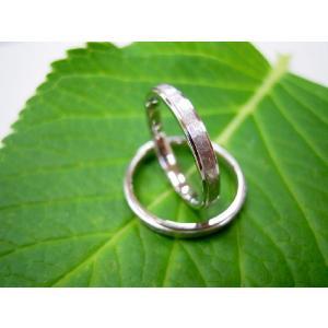 プラチナ結婚指輪(鍛造&彫金)光沢&艶消しのコンビ 打ち出し二段リング|kouki