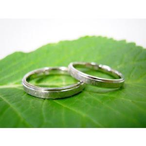 プラチナ結婚指輪(鍛造&彫金)光沢&艶消しのコンビ 打ち出し二段リング kouki 02
