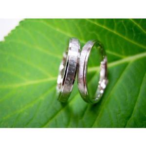 プラチナ結婚指輪(鍛造&彫金)光沢&艶消しのコンビ 打ち出し二段リング kouki 03
