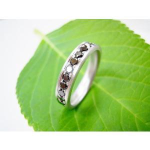 プラチナ結婚指輪(鍛造&彫金)艶消し 大粒ブラックダイヤ ハーフエタニティリング|kouki|03
