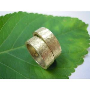 ゴールド結婚指輪(鍛造&彫金)艶消し 幅広&肉厚 打ち出し平打ちリング|kouki