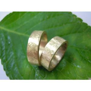 ゴールド結婚指輪(鍛造&彫金)艶消し 幅広&肉厚 打ち出し平打ちリング|kouki|02