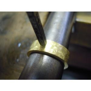 ゴールド 結婚指輪【本物の鍛造】幅広い平打ちリングに鎚目を打ちだす!日本伝統模様の槌目模様は和を感じられます! kouki 16