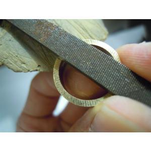 ゴールド 結婚指輪【本物の鍛造】幅広い平打ちリングに鎚目を打ちだす!日本伝統模様の槌目模様は和を感じられます! kouki 19