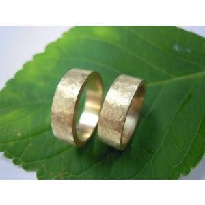 ゴールド結婚指輪(鍛造&彫金)艶消し 幅広&肉厚 打ち出し平打ちリング|kouki|03