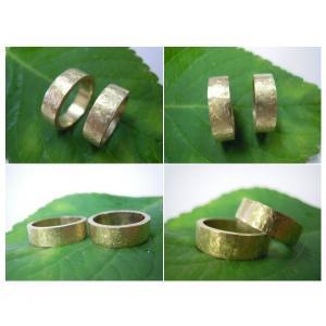 ゴールド結婚指輪(鍛造&彫金)艶消し 幅広&肉厚 打ち出し平打ちリング|kouki|04