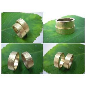 ゴールド結婚指輪(鍛造&彫金)艶消し 幅広&肉厚 打ち出し平打ちリング|kouki|05