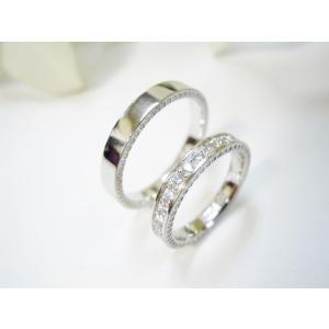 プラチナ結婚指輪(鍛造&彫金)光沢&ミル打ち 女性はハーフエタニティ 男性は平打ち|kouki