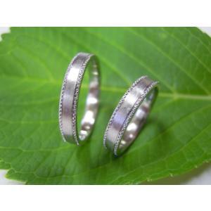 プラチナ結婚指輪(鍛造&彫金)艶消し 平打ちリングの縁に小さいミル打ち|kouki