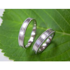 プラチナ結婚指輪(鍛造&彫金)艶消し 平打ちリングの縁に小さいミル打ち|kouki|02