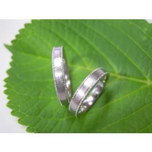 プラチナ結婚指輪(鍛造&彫金)艶消し 平打ちリングの縁に小さいミル打ち|kouki|05