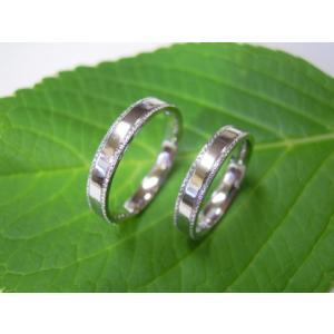 プラチナ結婚指輪(鍛造&彫金)鏡面仕上げ 平打ちリングの縁に小さいミル打ち|kouki