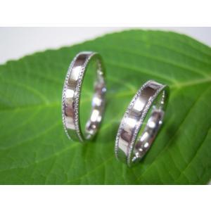 プラチナ結婚指輪(鍛造&彫金)鏡面仕上げ 平打ちリングの縁に小さいミル打ち|kouki|02
