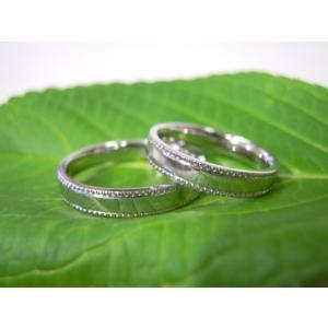 プラチナ結婚指輪(鍛造&彫金)鏡面仕上げ 平打ちリングの縁に小さいミル打ち|kouki|03