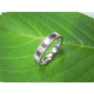 プラチナ結婚指輪(鍛造&彫金)鏡面仕上げ 平打ちリングの縁に小さいミル打ち|kouki|05