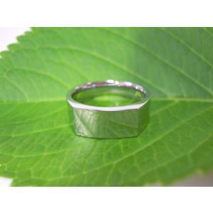 プラチナ結婚指輪(鍛造&彫金)鏡面仕上げ 昔の手法で造った斬新な横長角印台リング|kouki|05